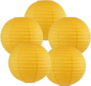 Just Artifacts 6-Inch Pineapple Yellow Chinese Japanese Paper Lanterns (Set of 5, Pineapple Yellow)