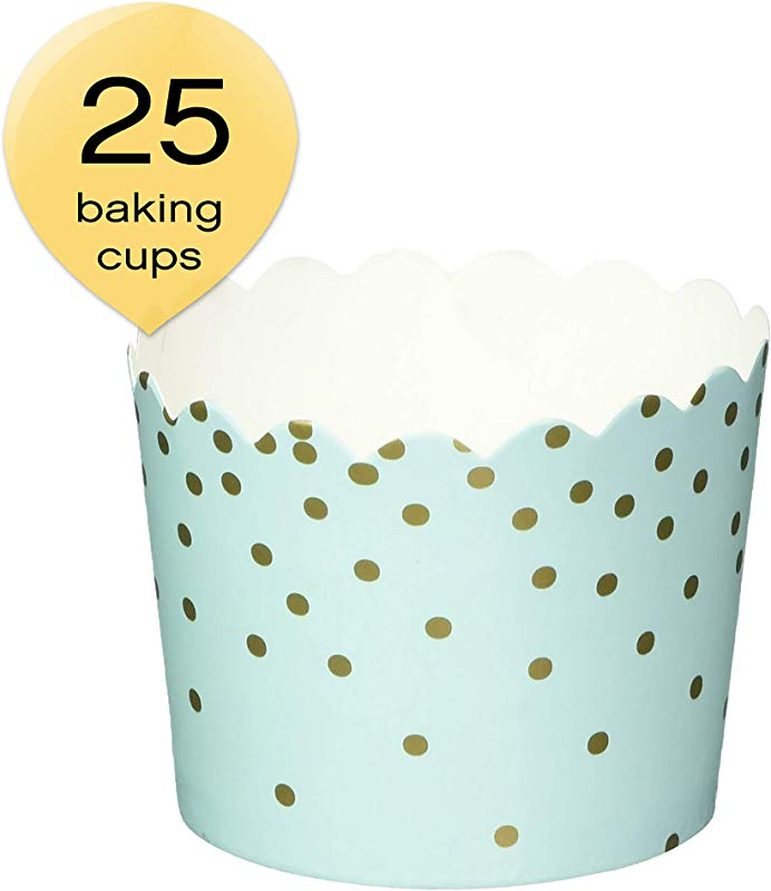 Simply Baked CSM 139 Disposable Paper Baking Cups 25 Pack Mint Gold Dots