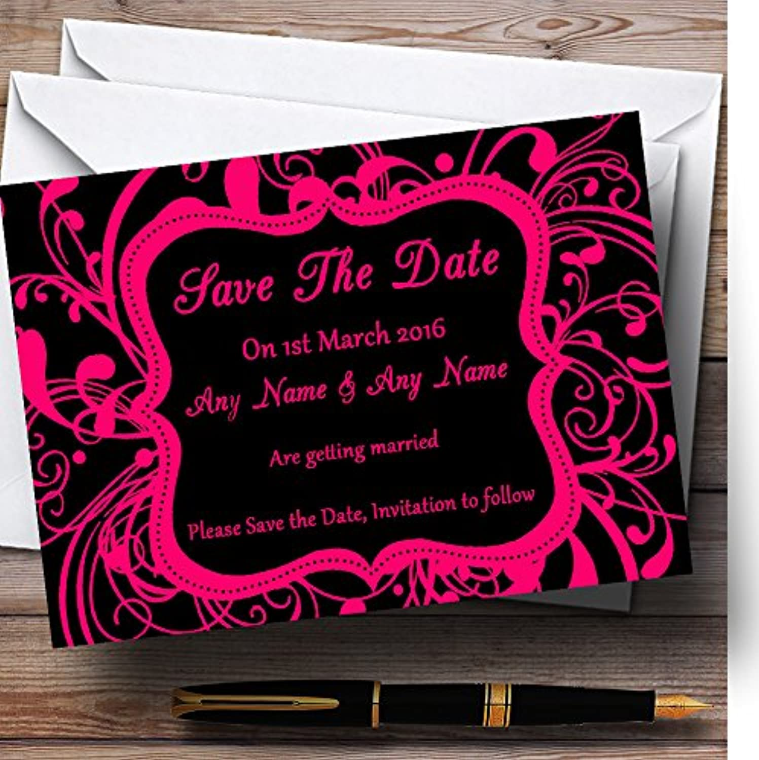 Black & Pink Swirl Deco Personalised Wedding Stationery Save The Date Cards