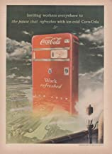 Inviting workers everywhere Coca-Cola Vending Machine Cooler ad 1949 T