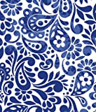 Batik Scroll Royal Blue Gift Wrapping Roll 24' X 16' - All Occasion Gift Wrap Paper
