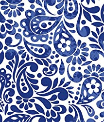 Batik Scroll Royal Blue Wrapping Paper