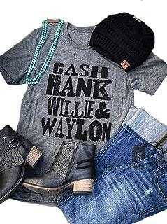 Cash Hank Willie Waylon Vintage T Shirt Tops for Women Summer Vintage Letter Graphic Tops Funny Cute Short Sleeve Blouse Tee