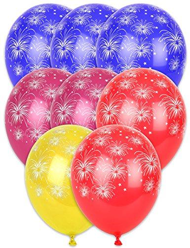 8 Ballons imprimés Feux d´Artifice - Taille Unique