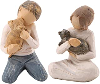 Wal front Hugging Dog Cat Shape Stone Resin Figurine Man&Woman Statue Sculptures 3.1
