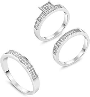 His and Hers 3 Pieces Sterling Silver Zirconia Engagement Wedding 3 Ring Set