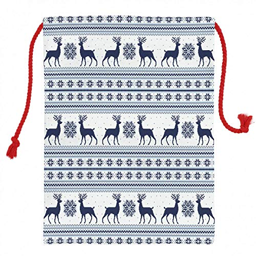 Christmas Gift Sack 198x259 Inch Nordic Christmas Gift Bag Pixel Art Style Christmas Pattern With Reindeer And Snowflake Motifs Canvas Santa Sack
