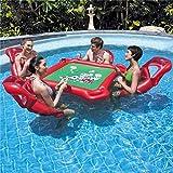 WXH La Mesa Inflable de póquer para la Piscina, la balsa Flotante de los Juguetes de la Piscina, Incluye 4 sillas flotantes para el salón Póquer y fichas Impermeables, portavasos incorporados