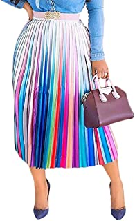 Adogirl Women Color Block Graffiti African Letter Print Pleated A Line Swing Maxi Long Skirt Midi Dress