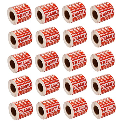SJPACK 10000 Fragile Stickers 20 Rolls 2 x 3 Fragile - Handle with Care - Thank You Shipping Labels Stickers (500 Labels/Roll)