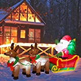 eUty Christmas Inflatable Decoration 7 Feet Santa on Reindeer Sled Built-in Lights Outdoor & Indoor Holiday Blow Up Decor