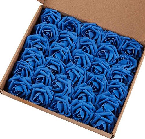 Marry agendo artificiale fiore rosa, 30Pcs Real touch rose artificiali per bouquet DIY wedding party Baby Shower Home Decor 60pcs Royal Blue