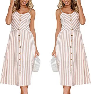 Women's Dresses Summer Bohemian Floral Sundress Spaghetti Strap Button Down Swing Midi Dress with Pockets