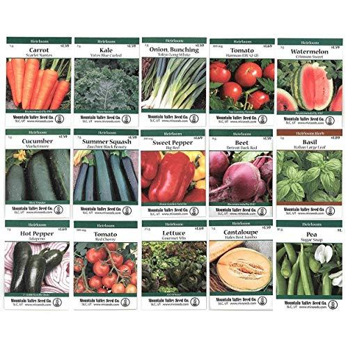 Heirloom Vegetable Garden Seed Collection – Assortment of 15...