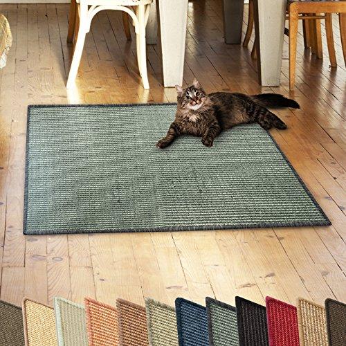 casa pura Sisalteppich Natural Line | ideal als Kratzmatte für Katzen | schadstofffrei & widerstandsfähig | Sisal Kratzteppich in vielen Farben und Größen (Grau/Khaki, 60x80 cm)
