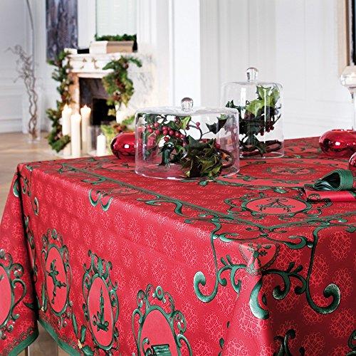 Beauville–Rot Winter French Seide Bildschirm Printed Satin Baumwolle Tischdecke–170,2x 238,8cm