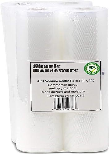 "lowest 4 Pack - SimpleHouseware 11"" x 25 Feet Vacuum Sealer Bags discount (total 100 sale feet) outlet sale"
