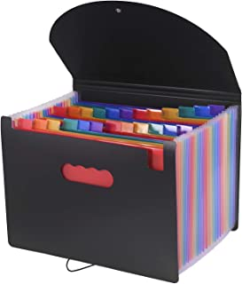 Expanding File Folder, Timeek 24 Pockets File Organiser/ A4 File Folder/Rainbow Document Organiser for Filing Folders and Storage Files