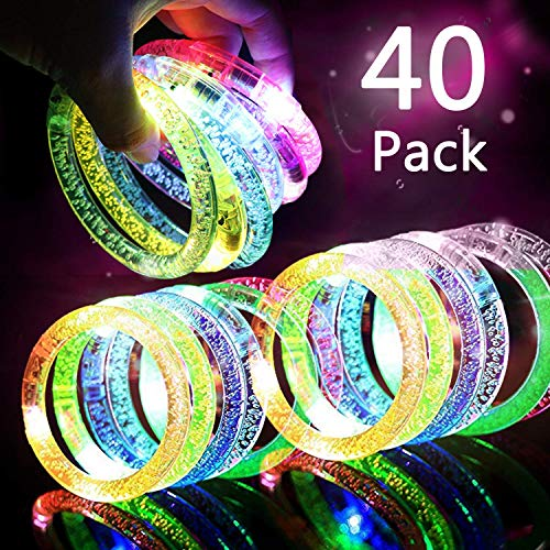 HDHF 40Pack Glow Bracelets 6 Color LED Bracelets Light Up Bracelets Glow in The Dark Party Supplies,Led Rave Toys for Wedding,Birthdays,Concert,Night Games,New Years Eve Party Favor