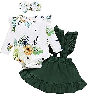 Amissz 3 PCs Bébé Fille Ensemble de vêtement Tenue Costume Mignon Barboteuse T-Shirt à Floral Manche Longue + Jupe + Bande...
