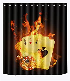 LB Poker Card Casino Game Luck Strikes Fire Shower Curtain Set for Bathrooms, Poker Game Theme Fabric Curtain, 70 W x 78 L Extra Long Bathroom Curtain Waterproof