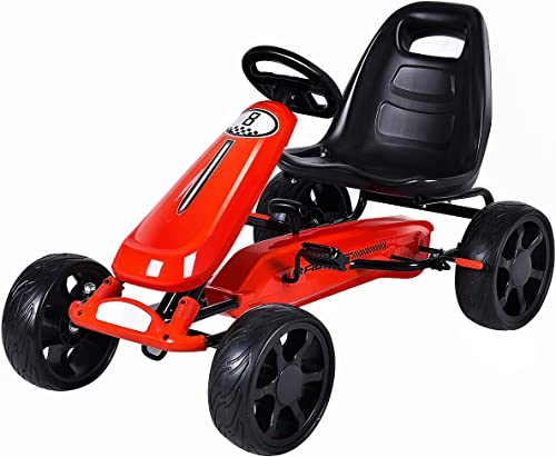 Costzon Go Kart, 4 Wheel Powered Ride On Toy, Kids' Pedal Cars for Outdoor, Racer Pedal Car with Clutch, Brake, EVA R...