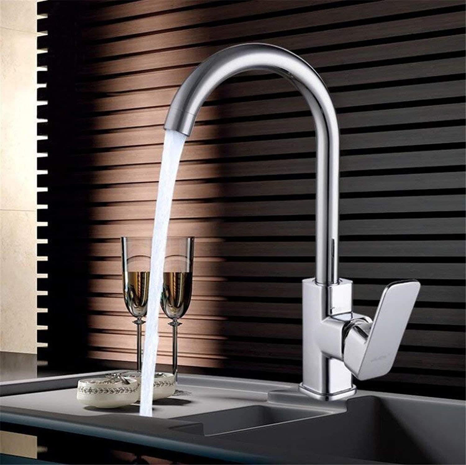 Oudan All Copper Kitchen Faucet Joint Cold Vegetables Basin Sink 304 Stainless Steel Splash redatable Ceramic Valve Core Single Household Cold (color   -, Size   -)