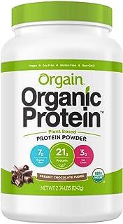 Orgain Organic Plant Based Protein Powder, Vegan, Low Net Carbs, Non Dairy, Gluten Free, Lactose Free, No Sugar Added, Soy Free, Kosher, Non-GMO (2.74 lb, ChocolateFudge)