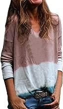 Women Long Sleeve T Shirt,Casual Crew Neck Tops Blouse Fall Gradient Color T Shirt Pullover Sweatshirt Gogoodgo
