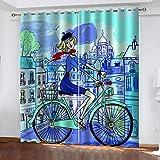 FFFSSS Impresión Digital 3D Cortinasniña De Dibujos Animados Cortina 3D Dormitorio 100% Poliéster Moderno Salón Cama Habitación Hoteloficina Decoracion 220Wx215H Cm