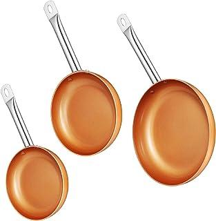 Batterie De Cuisine 3 Casseroles 2 Plateaux En Cuivre De Couleur Adaptés À La Poignée En Acier Du Four 1Set