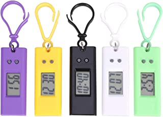 Hemobllo Keychain Pocket Watch - 5 Pack Digital Clip On Watch Prismatic Keychain Electronic Watches Backpack Small Pocket Watch Keyring for Kids Student Outdoor Sport Birthday Gift (Random Color)