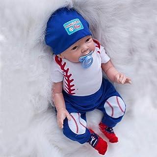 XYSQWZ 55cm Newborn Baby Doll Soft Touch Vinyl Silicone Handmade Reborn Doll Lifelike Boy Look Real Toy for Ages 3+ Blue B...
