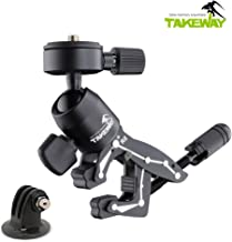 TAKEWAY R2 Essential Clampod, Aluminum alloys for Aerospace Applications, GoPro and Other Action cam Accessory/Mount, with 360° Adjustable ballhead, Compatible with Gopro Hero (2018), Fusion, Hero 7,