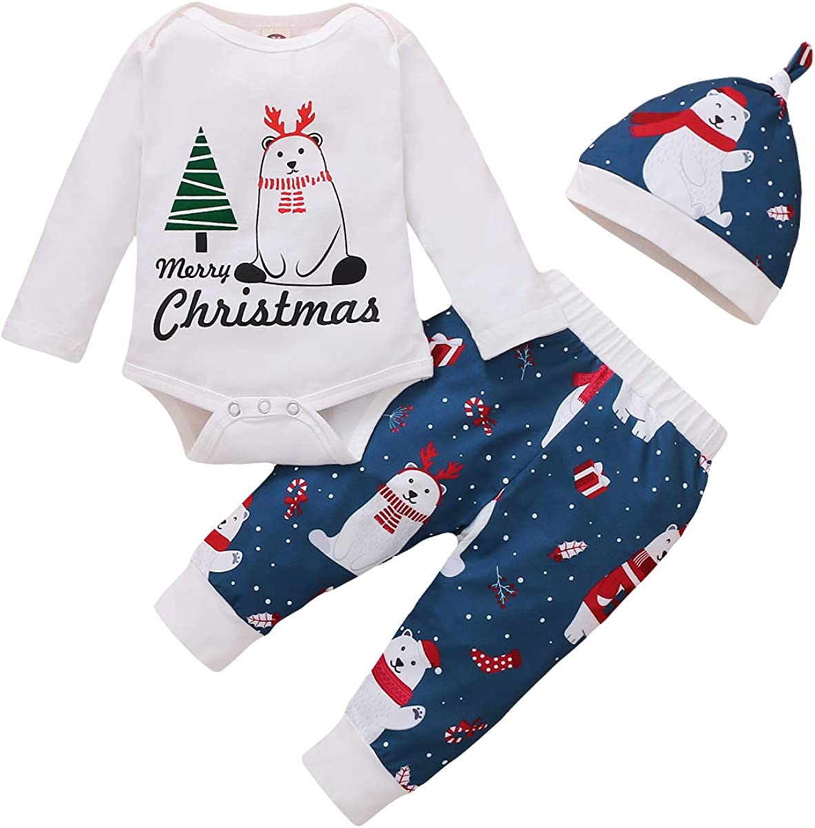 3Pcs Newborn Baby Girl Boy My First Christmas Outfits Christmas Tree Romper Festival Clothes Set