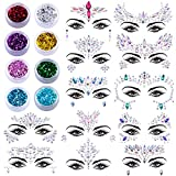SIQUK 12 Sets Face Gems Glitter Mermaid Face Jewels Crystal Stickers with 8 Boxes Chunky Face Glitter Temporary Tattoos for Festival Rave Carnival Party