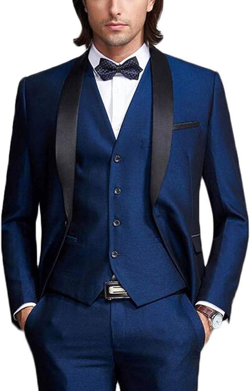 Wemaliyzd Men's Charm 3 Pieces Business Suit Regular Fit Blazer Vest Pants
