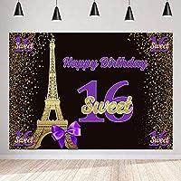 写真撮影のための新しい甘い16誕生日の背景エッフェル塔きらびやかなゴールデンドット背景250×180 cmパーティーの装飾用品写真撮影小道具120