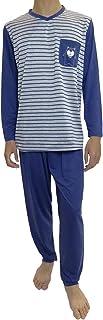 Pijama de Caballero Hombre de Algodon Fino Manga Larga con Pantalon Largo y de Cuello Pico/Ropa para Dormir de Hombre