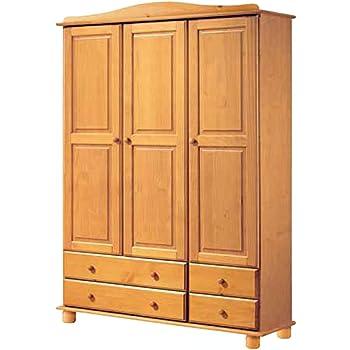 La Factoría Muebles - Armario 3 puertas y 4 cajones en , talla 130 x 197 x 52cm: Amazon.es: Hogar