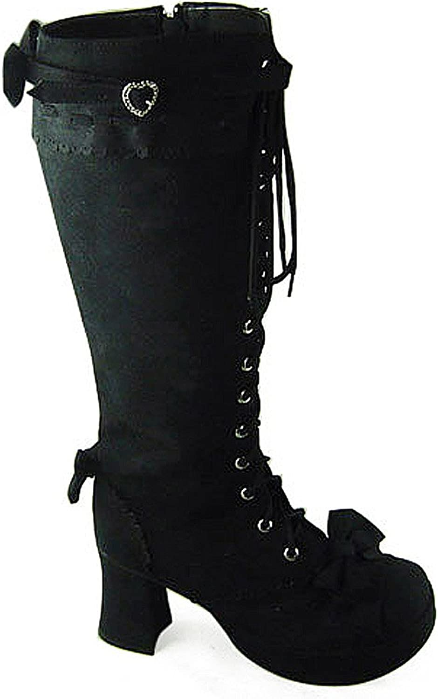 Antaina Mid Heel Black PU Zipper Heart Buckle Punk Chunky Lolita Platform Boot