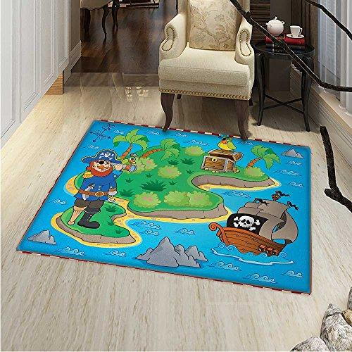 Island Map Small Rug Carpet Funny Cartoon Treasure Island A Pirate Ship Parrot Kids Play Room Door mat Indoors Bathroom Mats Non Slip 2'x3' Multicolor