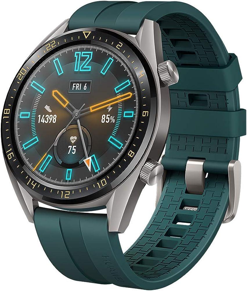 SUNG-LL Huawei Watch GT 2019 (46mm) BT Version, Water Proof, Titanium Grey Stainless Steel - Fluoroelastomer Band Active Dark Green