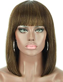 Beauart 12¡± 100% Remy Human Hair Short Bob Wigs for Women Straight Hair Brown Highlights Bob Wigs with Hair Bangs,Trendy and Natural Looking Everyday Wear Wigs