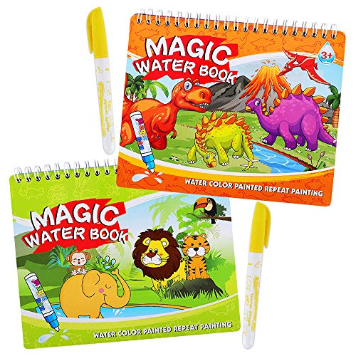 Paint with Magic Water Coloring Books for Toddler,Reusable Water Reveal Activity Books for Kid,Travel Game for Girl & Boy for 3-5 Year Old(Dinosaur&Animal)