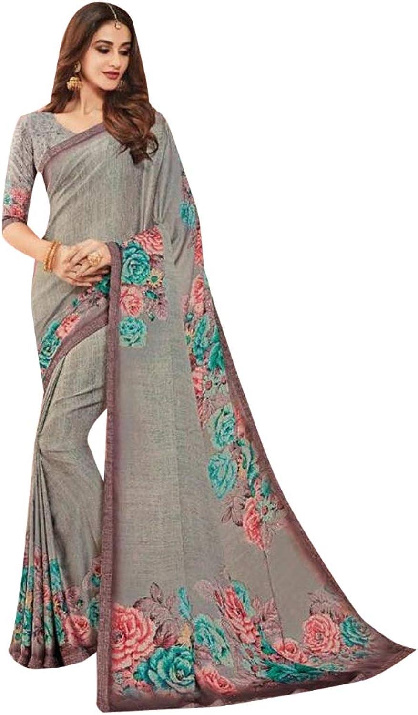 Ethnic Emporium Grey Swarovski Stone Satin Sari Stylish Party Formal Printed Punjabi Saree with Blouse Pakistani Indian Women 7506