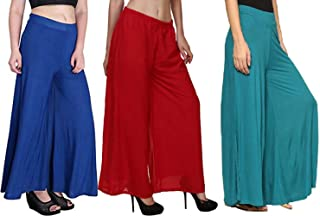 Aglobi Women's Stretchy Malia Lycra Wide Leg Palazzo Pants Pack of 3 Free Size