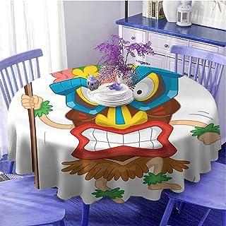 Tiki Bar Decor Multicolore rond de table en tissu de style indien portant un masque d'illustration de dessin animé tribal ...