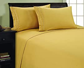 Elegance Linen 1500 Thread Count Chain Design Egyptian Quality Luxurious Silky Soft Wrinkle & Fade Resistant Hypoallergenic 4 pc Sheet Set, Deep Pocket Up to 16 - Queen Gold