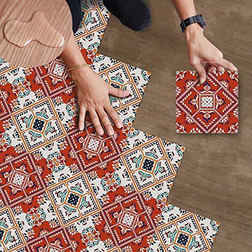 Hiser Baldosas de Suelo Interior, 20 * 20cm Suelos de vinilo PVC Autoadhesivas, Impermeable, Resistentes al Moho, Decorativo de Hogar (Rojo,25pcs)
